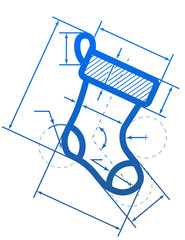 Christmas stocking symbol with dimension lines for blueprint