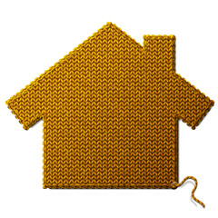 House symbol of knitted fabric isolated on white background
