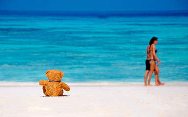 Loneliness Teddy Bear sitting on the beach.