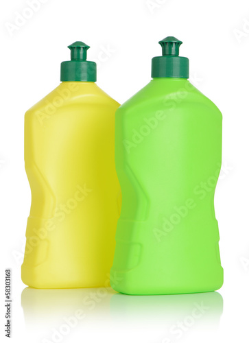 Two plastic bottle isolated on white background