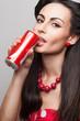 Closeup of drinking soda beautiful stylish model