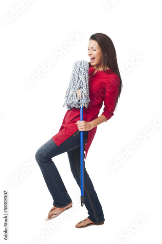 Happy woman enjoying with a mop