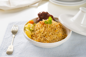 Chicken Biryani rice in tajine