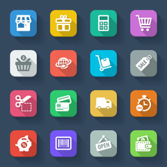 Shopping flat icons. Colorful