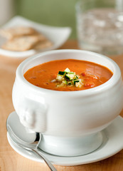 roasted red pepper bisque with cucumber relish.