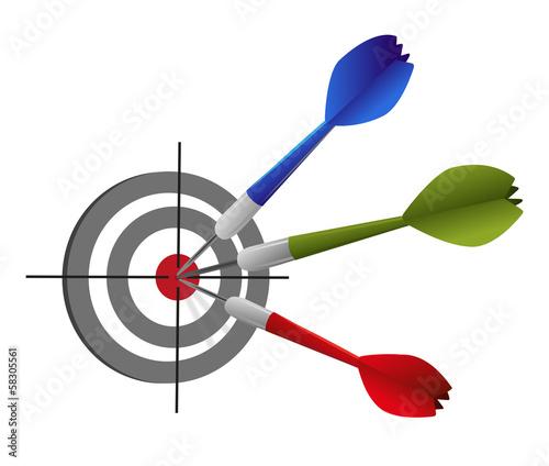 Ziel 3 Dartpfeile Erfolg Konzept Dartscheibe - Vektor