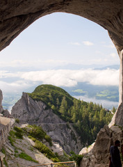 Amazing view from Werfen Ice Cave to Austrian Alps
