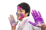 Portrait of a man celebrating Holi