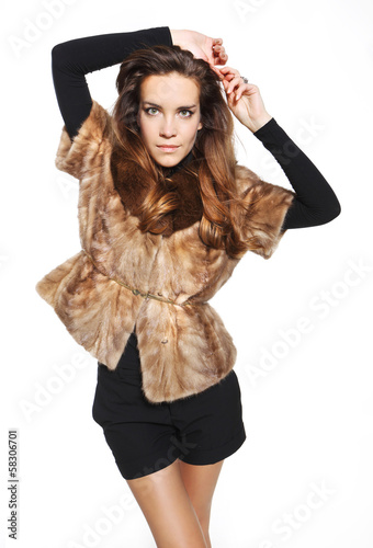Young lady in a stylish fur