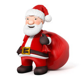 3D Cartoon Santa Claus with sack on white background