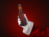 Santa Holding a Bottle of Beer