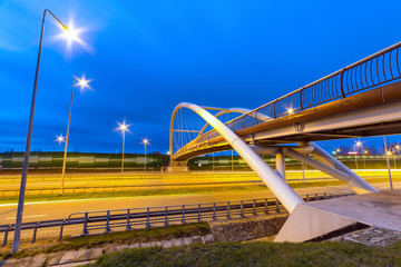 Architecture of highway viaduct at night in Gdansk, Poland