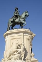 Equestrian statue in Commerce square, Lisbon