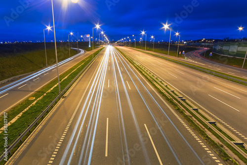 Bypass road of Tri city at dusk, Poland