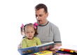 father with daughter in read