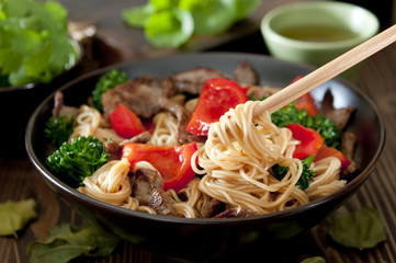 bowl of beef and vegetable Lo Mein stir fry.