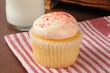 Strawberry cream cupcake with milk