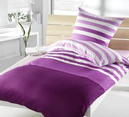 Bettwäsche violett gestreift