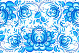 Ornate blue and white floral vector pattern
