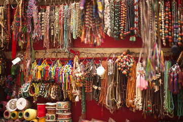Craft products for sale at a souvenir shop, Tibetan Market, Delhi, India