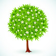Round vector green tree with flowers