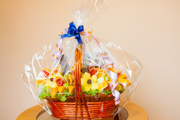 Gift fruit basket on a table