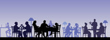 Fototapety Silhouette of people eating in a restaurant layered