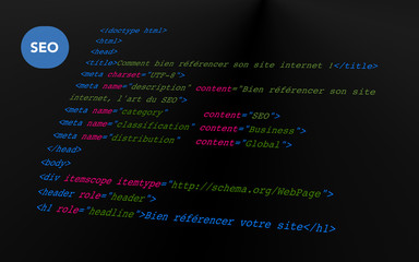 Optimisation du code pour le SEO - Background noir