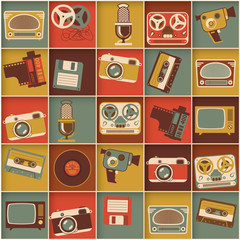 Retro media hipster style pattern. Vector background.