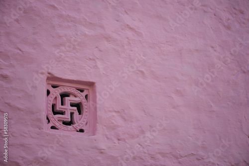 Close-up of a window of a building, Pushkar, Ajmer, Rajasthan, India