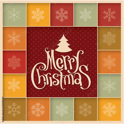Minimalist design retro Christmas greeting card. Vector.