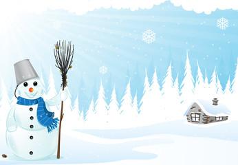 Hut and snowman