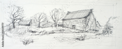 Sketch of an old barn made by pencil on a white paper