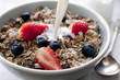 bowl of granola with fresh fruit and milk. - 58309977
