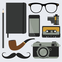 Hipster style accessory. Vector design element set.