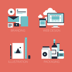 Flat design corporate style icons