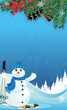Snowman and spruce branches