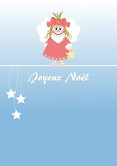 Cute little angel french text: Merry Christmas