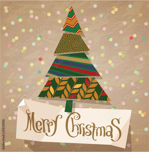 Retro style christmas greeting card. Vector vintage minimalist