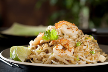 Closeup of a shrimp Pad Thai.