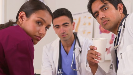 Mexican doctors relaxing during their coffee break