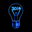 glowing new year 2014 in bulb