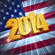 new year 2014 golden figures over shining american flag