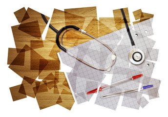 desk stethoscope collage