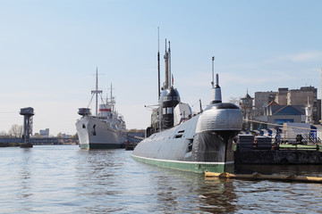 Submarine and ship