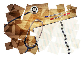 stethoscope desk collage