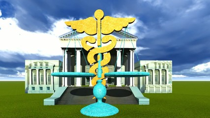Scales of justice and medical symbol