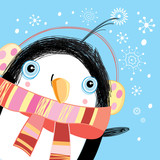 Christmas greeting card with a penguin