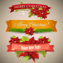 "Set of  Ribbons, Labels, Tags ""Merry Christmas and Happy New Yea"