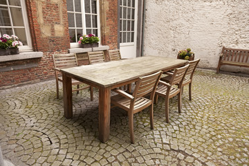 Table and chairs in patio